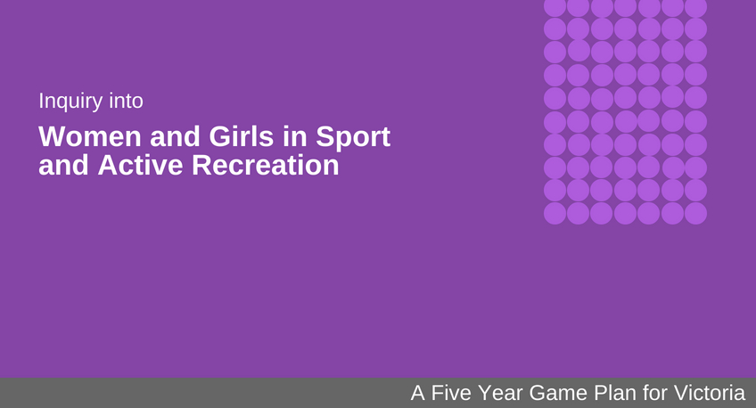 Branded tile titled - Inquiry Into Women and Girls in Sport and Active Recreation: A five year game plan