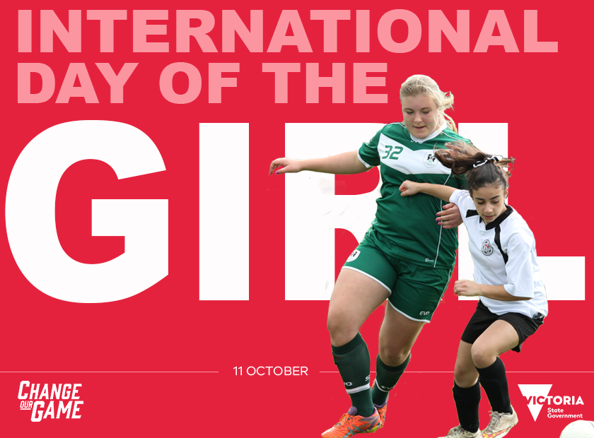 Branded tile titled: International Day of the Girl with two girls playing football