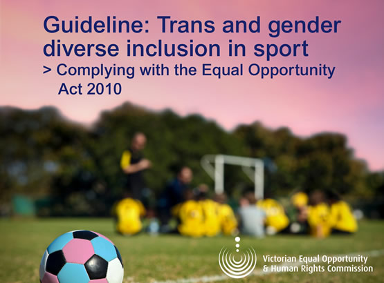branded tile titled - Guideline: Trans and gender diverse inclusion in sport, complying with the Equal Opportunity Act 2010