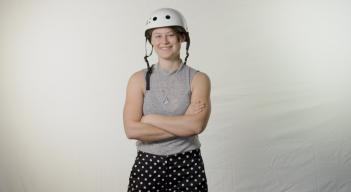 Ambassador Lauren Foote poses with her roller derby helmet
